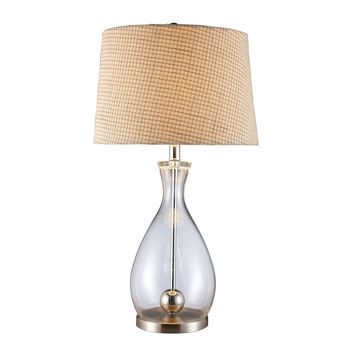 Longport Table Lamp in Clear Glass And Chrome with Linen Shade