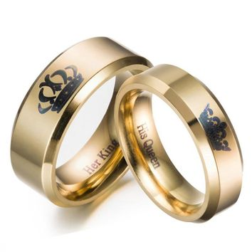 Cool Gold colour King And Queen Stainless Steel Crown Couple Rings Gold Rings For Couples Lovers Love Promise Rings For Men WomenAT_93_12