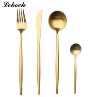 Lekoch 4PCS/Set Gold Silverware Set Golden Cutlery Set Stainless Steel Dinnerware Dinner Knife and Fork Scoops Set Tableware Set