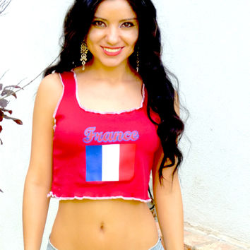 France Flag Red Ribbed Crop Top