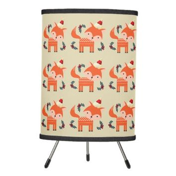 Orange Fox In Santa Hat Cute Whimsical Christmas Tripod Lamp