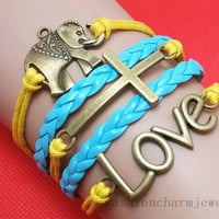 elephant-cross-love bracelet Charm Bracelet yellow Cords light blue Braided Leather Friendship Gift Personalized jewelry wholesale