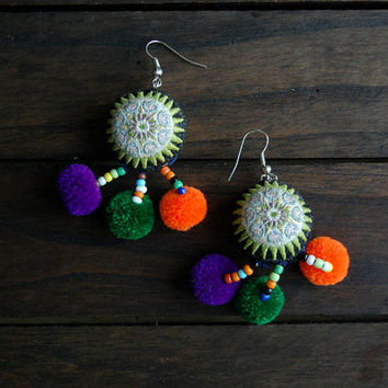 Green Star Embroidered Pom Pom Vintage Hmong Earrings