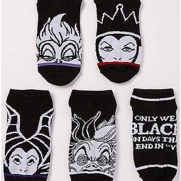 Black and White Disney Villain No Show Socks - 5 Pair - Spencer's