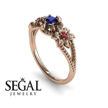 Unique Engagement Ring 14K Red Gold Flowers Art Deco Filigree Ring Sapphire With Ruby - Kennedy
