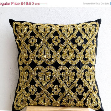 Valentine SALE Decorative Throw Pillow -Black Silk Gold Sequin Throw Pillows -Gold Embroidery Accent Pillow -Couch Pillows -Gift -20x20 -Chr