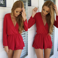 Flowy Red Romper