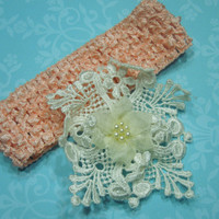 Peach crochet headband with an ivory venise lace flower for children, baby, hair accessories by MarlenesAttic