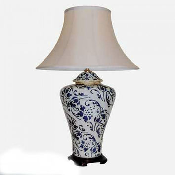 Pair of Chinese Porcelain Ceramic Table Lamps in a Blue Vine Theme