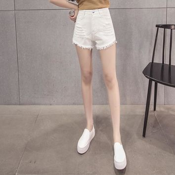 KJ81 Summer Women Denim Shorts High Waist Jeans Female  Hole Shorts Femmes Denim Shorts Jeans