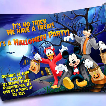 Halloween Party Donalduck and Friends Design For Digital File, Birthday Invitation by SaphireInvitations