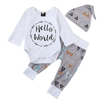 'Hello World' 3 Piece Triangle Print Hat + One Piece + Pants Set