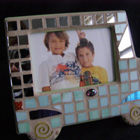 Mint Green Mirror Mosaic Car Frame, 3 1/2  x  5, Kids Frame, Baby Shower, Child's Photo, Baby, Green