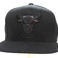 Chicago Bulls 2015 Mitchell & Ness Hardwood Classics Fitted Cap Size 7 3/8 Black