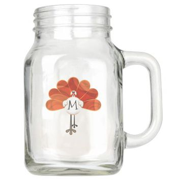 Family Thanksgiving Turkey Monogrammed Mason Jar