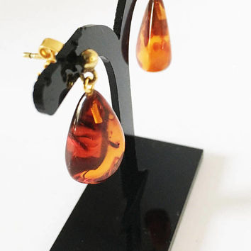 Baltic Amber Tear Drop Pierced Earrings, Gold Tone Orange Brown Drop and Dangle Gold Studs