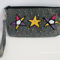 Beaded Star Felt Wristlet, Handbag, Purse, Bag