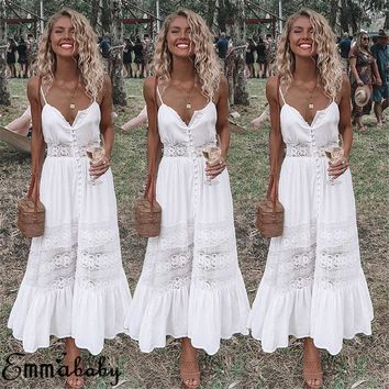 2018 Boho Summer Off Shoulder Party Sundress Oversized Strappy Long Maxi Dress Hot