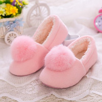 Christmas Cute Fur Snowball Shoes Thick Cotton Slippers Women Winter Indoor Home House Shoes Warm Thick Plush for Young Ladies