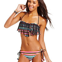 Raisins Bandeau Fringe Striped Bikini Top