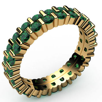 Emeralds Two Row Eternity Ring,46 stones, 18K Yellow gold, Jewelry,marriage,anniversary ring, wedding party