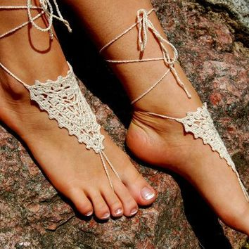 Ivory Barefoot Sandals, Crochet Beach Wedding Shoes, Anklet, Nude Shoes, Yoga socks, Foot Jewelry, For Women