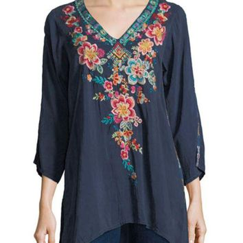 DCCKAB3 Johnny Was Roma Embroidered Tunic Dawn