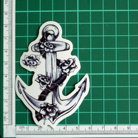 Rose Vine Ship Anchor Black On Clear Transparent Sticker Decal