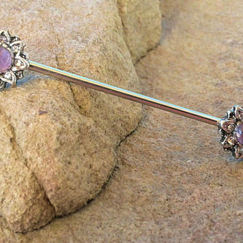 Amethyst Flower Industrial barbell 14ga Surgical Stainless Steel Ear Bar Body Jewelry