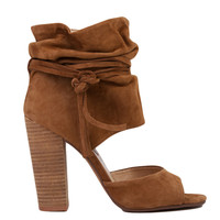 Kristin Cavallari for Chinese Laundry Leigh Camel Suede Peep Toe Wrap Booties