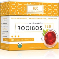 Organic Rooibos Tea Bags - Caffeine Free - Zero Calories - 80 Count Box - Sustainably & Ethically...