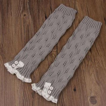 Women Leg Warmer Knitted Socks Fashion Girl Winter Crochet Leggings Stockings