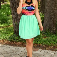 Tribal Paradise Dress: Mint/Multi