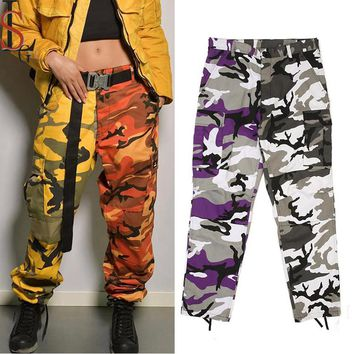 Men And Women Loose Military Camo Track Pants