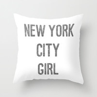 Velveteen Pillow - New York City Girl Pillow - New York City Decor - Typography - Decorative Pillow - Girls Room Decor - Teen Room Decor