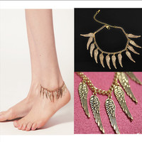 Cute Ladies Sexy Stylish New Arrival Shiny Gift Jewelry Simple Design Feather Leaf Tassels Anklet [6768773895]