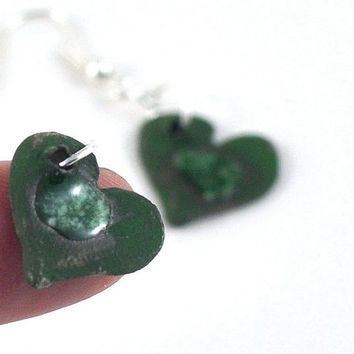 Ceramic Dangle Earrings Delicate Love Heart Jewelry Green or Red Pierced or Unpierced Screw Back