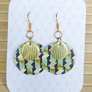 Gold & abstract design earrings - paper earrings  postcard soda can earrings Handmade earrings  upcycled jewelry unique gift for her tin can