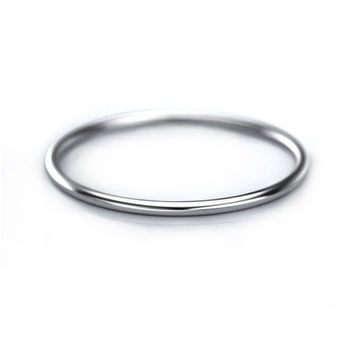 1mm Thin Gold Band - White Gold