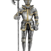 Medieval Knight In Armor Holding Pollaxe Weapon Statue 10.75H