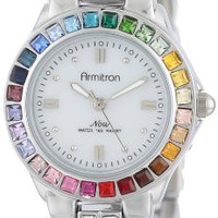 Armitron Women's 75/3689MPSVRB Multi-Color Swarovski Crystal Accented Silver-Tone Bracelet Watch