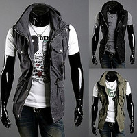 Vintage Design Slim Fit Vest Jacket