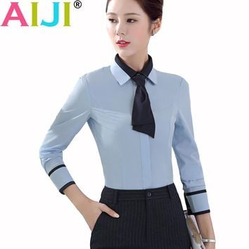 2018 high quality women elegant office business work style bow tie blouse turn-down collar long sleeve button silm shirts tops