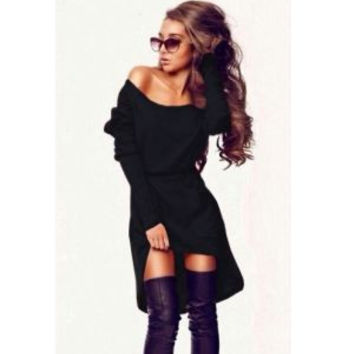Black Long Sleeve Off Shoulder Dress