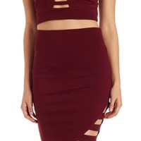 Burgundy Caged Asymmetrical Pencil Skirt by Charlotte Russe