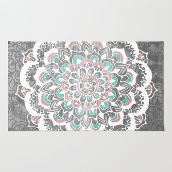 Pastel Floral Medallion on Faded Silver Wood Rug by Tangerine-Tane