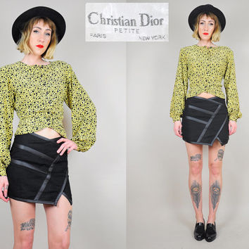 on sale • • CHRISTIAN DIOR Silk Polka dot PEPLUM waist Cropped Poet Blouse 80's Balloon Sleeve Sm / Med