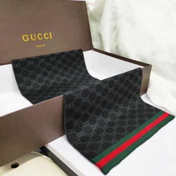 GUCCI Classic Popular Men Women Stripe Black Cashmere Scarf Scarves Shawl Accessories