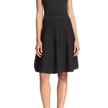Alice + Olivia 'Heather' Scoop Neck Ribbon Detail Fit & Flare Dress | Nordstrom