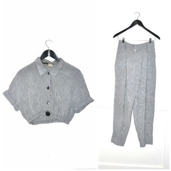 two piece matching SET vintage 80s 90s CHECKERED gingham black + white 2 piece outfit CROP top trouser set